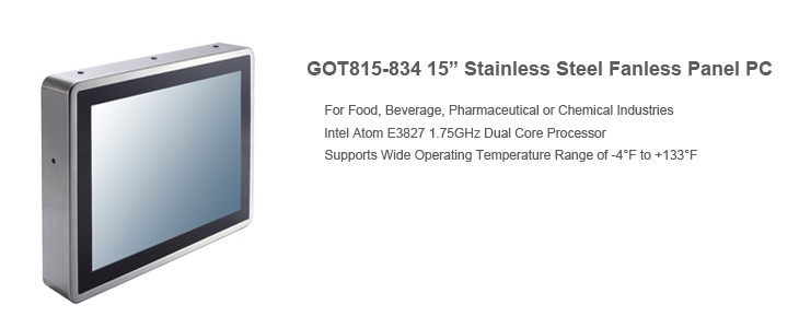 "GOT815-834 15"" Stainless Steel Fanless Touch Panel PC"